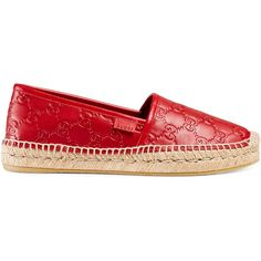 Gucci Gucci Signature Leather Espadrille ($365) ❤ liked on Polyvore featuring shoes, sandals, espadrilles & wedges, red, women, platform espadrilles, red platform sandals, leather wedge sandals, wedge espadrilles and red sandals