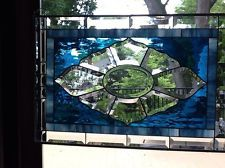 Stained Glass Transom Window Panel - Center Bevel With Blue Waterglass