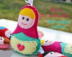 Items similar to Irina the babushka - PDF sewing pattern, Christmas ornament, matryoshka pattern on Etsy Felt Christmas Ornaments, Christmas Decorations, Holiday Decor, Sewing Hacks, Sewing Projects, Felt Toys, Pdf Sewing Patterns, Handmade Gifts, Diy