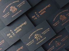 Copper foil and black board business card design by Oddds.
