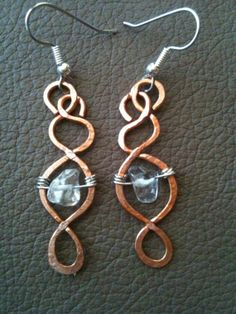 Copper and silver wire hammered texture with large clear quartz earrings by BLLstudio,