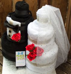 Wedding gift towel cake bride & groom. Full set by MimicGifts