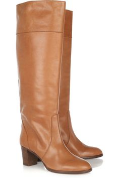 J.Crew Booker knee boots: tobacco leather, contrasting stack heel measures approximately 65mm/ 2.5 inches with a 10mm/ 0.5 inch platform, stitch detailed, round toe. Pull on. Designer color: Masala Chai.