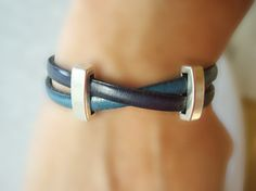 Navy & Turquoise. Women's Leather Bracelet Free by SonseraeDesigns, $32.00