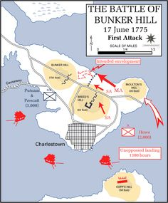 Battle of Bunker Hill and Breeds Hill 1775 First Attack