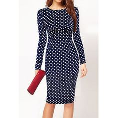 Vintage Round Neck Long Sleeve Polka Dot Bodycon Women's Dress