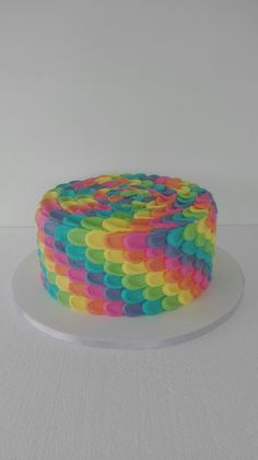 Rainbow buttercream cake