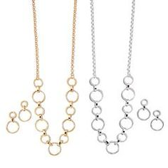 Avon Rising Stars Circle- Link Necklace and Earring Gift Set