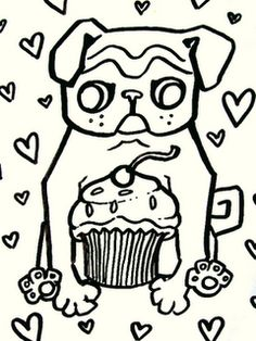 [Pugs 'N Cupcakes]: Pug Coloring Pages