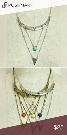 """❣Silver/Gold faux stone necklaces❣ Silver and/or Gold Faux Stone accented necklaces  Lobster clasp, adjustable length 9"""" Drop Length   Please indicate what color combo desired after purchase (Turqouise/Silver SOLD)  ☆Black/Silver, Red/Gold, Cream/Gold Available☆ Jewelry Necklaces"""