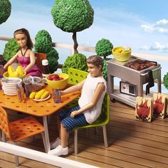 It's time for a barbecue on the terrace! Happy Friday! #lundby #lundbydollshouse  #barbecue