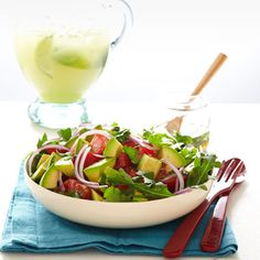 Avocado Salad with Lime & Cumin Vinaigrette. This cool, creamy, and slightly spicy avocado salad is a creative and healthy side, perfect to accompany smoky grilled eats at a Fourth of July celebration. Avocado Dessert, Healthy Sides, Heart Healthy Recipes, Yummy Recipes, Locarb Recipes, Delicious Meals, Avocado Recipes, Salad Recipes, Party Recipes