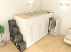 Loft bed with dressing and shelf stairs by Archea