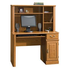 Sauder Orchard Hills Computer Desk with Hutch, Carolina Oak - Works as designed and well built.When you need new home office furniture, you're naturally looking Computer Armoire, Small Computer, Computer Desk With Hutch, Office Computer Desk, Desk Hutch, Corner Hutch, Corner Desk, Small Desks, Small Corner