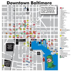 Downtown Baltimore Tourist Map - Baltimore Maryland • mappery