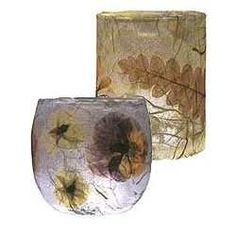 supplies: Pressed Leaves or Flowers   Votive Cup   Tissue Paper   Decoupage Solution   Foam Brushes   Instructions:  Press flowers and leaves traditionally or with the Microwave Flower Press.