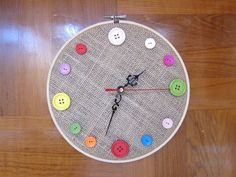 DIY Wall Clock, color buttons, Stitchery Loop, Movements Arms, Sew for kids, ShineKidsCrafts on Etsy, $6.99