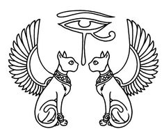 Egyptian-eye-of-horus-with-cats-and-wings                              …