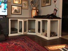 Triple Dog Kennel Furniture - Dog Kennel Furniture for your Pack — Texas Custom Kennels ,  #Custom #dog #Furniture #kennel #Kennels #pack #smallDogKennel #Texas #TRIPLE Wood Dog Crate, Dog Crate Furniture, Dog Kennel Cover, Diy Dog Kennel, Custom Dog Kennel, Wooden Dog Kennels, Pet Kennels, Building A Dog Kennel, Dog Rooms
