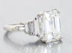 WOW 1920s Antique Art Deco 4.60ct H VS1 Emerald Cut GIA Diamond Platinum Engagement Ring