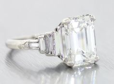 WOW 1920s Antique Art Deco 4.60ct H VS1 Emerald Cut GIA Diamond Platinum…