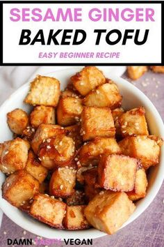 Delicious and easy sesame ginger baked tofu.  Perfect recipe for people who don't know how to cook tofu.  Throw this in stir fry's or on top of a buddha bowl. #tofu #easyrecipe #vegan #vegetarian Vegan Meal Prep, Vegan Dinner Recipes, Vegan Snacks, Vegan Dinners, Vegan Recipes Easy, Great Recipes, Whole Food Recipes, Vegetarian Recipes, Vegan Vegetarian