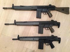The G3 Family: G3A3 (Fixed stock), G3A4 (Retractable stock) and G3K (Carbine).