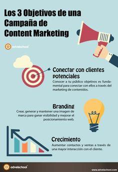 3 objetivos de una campaña de Marketing de Contenidos #infografia #infographic #marketing