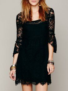 Square Neck Ruffle Eyelash Lace Vintage Black Dress