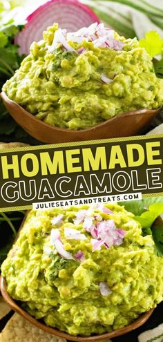 This homemade guacamole recipe is the best and the only one you need! Skip the store-bought and learn these steps instead. Whether served with chips, tacos, or burgers, this appetizer is delicious! Check out the different twists you try on this easy game day food! Bbq Appetizers, Easy Appetizer Recipes, Healthy Appetizers, Appetizer Ideas, Party Recipes, Keto Snacks, Healthy Meals, Yummy Recipes, Snack Recipes