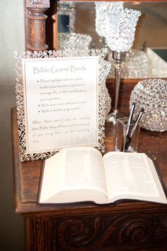 Bible guest book!  We say awesome!  This couple had the Bible monogrammed and then guests highlighted their favorite verses.  #faith #wedding #sawyerfamilyfarmstead.com