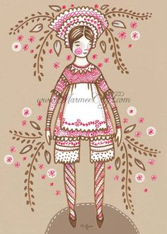 Red and brown china doll art print China Doll by MarmeeCraft, $18.00