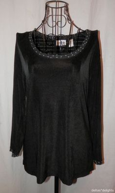 CHICO'S TRAVELERS TOP 1 M Medium Black Polka Dots Stretchy Slinky 3/4 Sleeve #Chicos #KnitTop #Casual