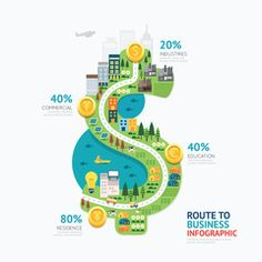 Infographic business money dollar shape template design.route to