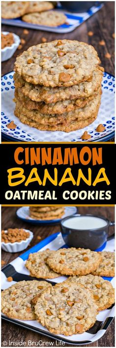 Cinnamon Banana Oatmeal Cookies - these chewy flat cookies have a crispy edge that makes them taste so good. Great recipe to fill your cookie jar with for an after school snack. #cookies #cinnamon #banana
