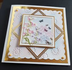 """Butterflies and flowers on 5"""" square card - Hunkydory toppers No message on front"""