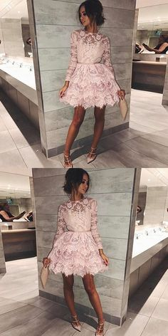 round neck pink short homecoming dresses, long sleeves lace short prom dresses, lace tiered short homecoming dress with sleeves Check me out for more!