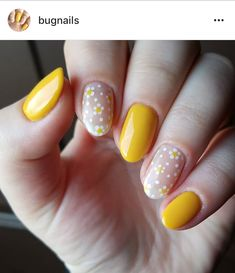 Spring nails, dotticure, yellow and white, daisy, simple dot