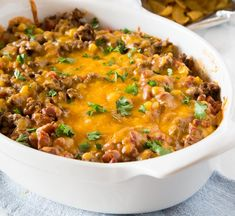 Dorito Casserole - Turn taco night into a quick and easy casserole with layers of your favorite chips. It is time to redefine the casserole, and make it something people want to eat! Hotdish Recipes, Beef Casserole Recipes, Meat Recipes, Mexican Food Recipes, Dinner Recipes, Cooking Recipes, Taco Casserole, Copycat Recipes, Frito Pie
