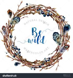 Watercolor Boho Wreath Made Of Dry Twigs And Bare Osier Branches Isolated On White. Natural Decoration. Wooden Sticks Garland. Christmas Chaplet Made Of Vine. Pussy-Willow Round Frame. Vintage Style. Stock Foto 506313061 : Shutterstock