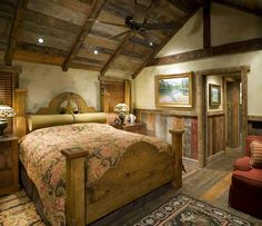 Reclaimed wood throughout the bedroom.