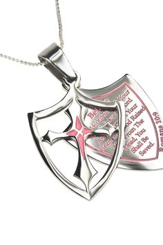 Pink 2 Piece Shield Cross Believe Necklace Rom 10:9