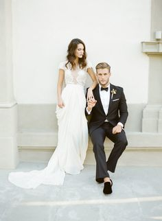 Stylish bride + groom: http://www.stylemepretty.com/2016/04/14/florence-wedding-inspiration-for-a-destination-i-do/   Photography: KT Merry - http://www.ktmerry.com/