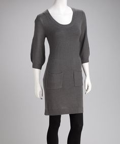 Take a look at this Gray Pocket Sweater Dress by She's Cool on #zulily today!