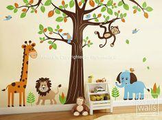 jungle safari animals huge set nursery kids playroom vinyl wall decal fun lion sticker animal bedroom home decor Animal Wall Decals, Nursery Wall Decals, Wall Decal Sticker, Wall Mural, Murals, Jungle Safari, Jungle Animals, Jungle Room, Jungle Theme