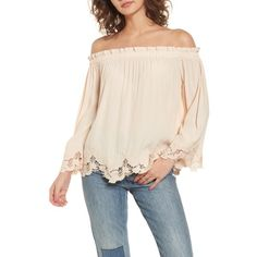 analena off the shoulder blouse by ASTR the Label. You might be tempted to take a spin in this fluid off-the-shoulder blouse topped with tiny ruffles and hemmed with da. Off Shoulder Tops, Off Shoulder Blouse, Cold Shoulder, Pink Lace Tops, Stylish Shirts, Blouses For Women, Label, Outfits, Clothes