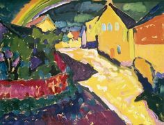 "Wassily Kandinsky - ""Murnau with rainbow"", 1909"