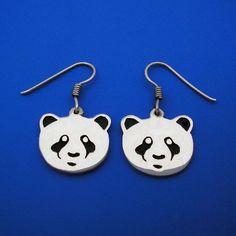 Silver Panda Earrings , Hand Made Solid Silver by ijewellery