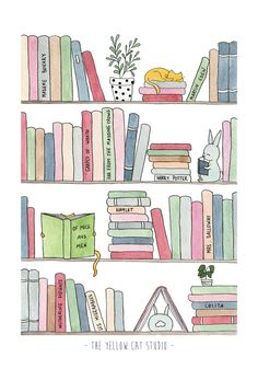 Bookshelf with cats - Watercolor illustration Art Print by The Yellow Cat Studio - X-Small Bullet Journal Books, Bullet Journal Ideas Pages, Bullet Journal Inspiration, Book Journal, Watercolor Books, Watercolor Cat, Book Illustration, Watercolor Illustration, Illustrations