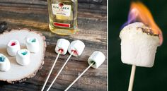 Flaming Marshmallow Jello Shots 1 (or two depending on colors) box flavored gelatin) - 6 ounces water - 6 ounces vodka - 1 bag marshmallows - Bacardi 151 (if a flame is desired)